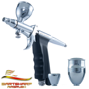 Variable action gravity feed airbrush kit pistol grip