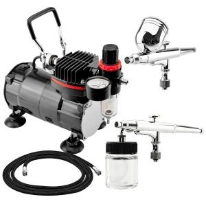 BARTSHARP Airbrush 130 & 133 Dual Action Gravity / Siphon Feed With TC802 Airbrush Compressor